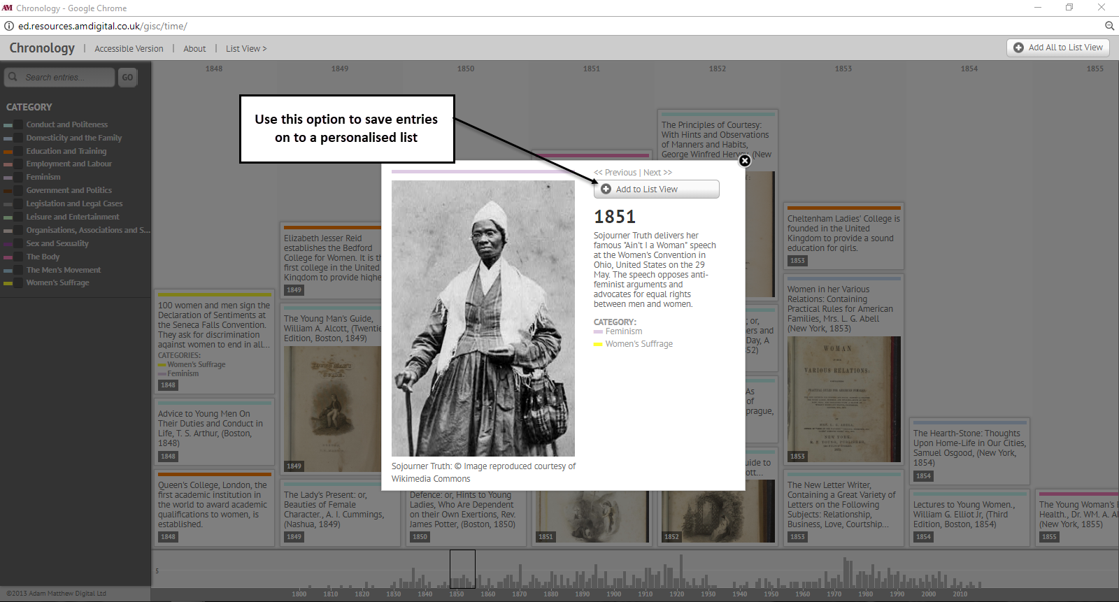 View of option to save entries on to a personalised list in the interactive chronology