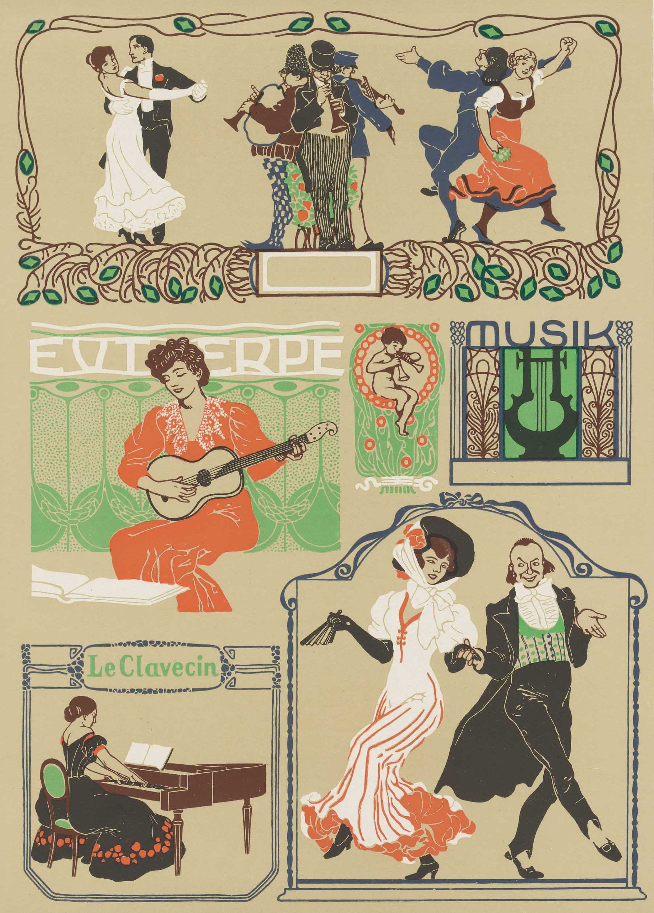Sheet music and illustrations of women dancing, © Schlesinger Library on the History of Women in America